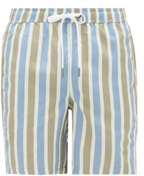 Onia Charles 7 Striped Swim Shorts - Mens - Green Multi