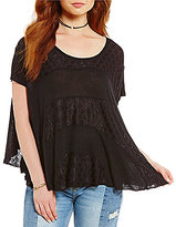 Free People Anything And Everything Short Sleeve Solid Boxy Tee
