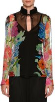 Giorgio Armani Tie-Neck Floral-Print Sheer Blouse