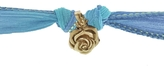 Catherine Michiels Secret Rose 14k Yellow Gold Charm & Silk Bracelet Wrap