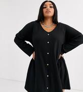 Asos DESIGN Curve long sleeve mini button through swing dress in texture