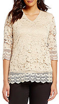 Investments Petites V-Neck Lace Top