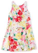 Ralph Lauren Sleeveless Floral Cotton Fit-and-Flare Dress, Pink, Size 2-6X