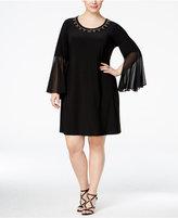 MSK Plus Size Embellished Illusion Bell-Sleeve Dress