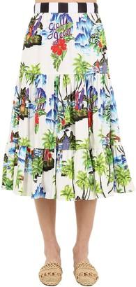 Stella Jean Printed Cotton Midi Skirt
