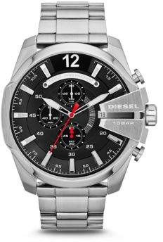 Diesel Brushed Stainless Steel Mega Chief Bracelet Watch
