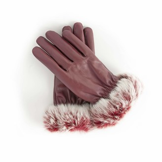 AXELENS Women's Gloves Touch Screen in Eco Leather Elegant Fleece Interior with Soft Eco Fur Cuff Winter Size S/M - BORDEAUX