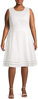 Calvin Klein Collection Eyelet Cotton A-Line Dress