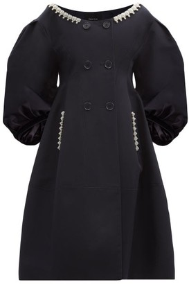 Simone Rocha Double-breasted Pearl-embellished Cotton Coat - Navy