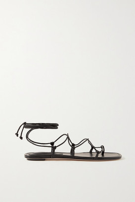 PORTE & PAIRE Knotted Leather Sandals - Black