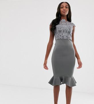 Chi Chi London Tall lace midi dress with peplum hem in charcoal grey