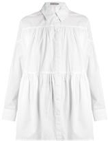 Preen Line Gathered-seam oversized cotton-poplin shirt