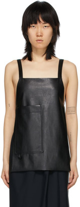 Markoo Black Faux-Leather Apron Tank Top