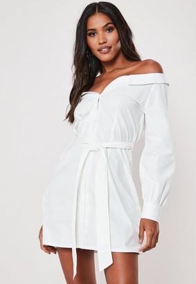 Missguided White Poplin Belted Bardot Shirt Dress