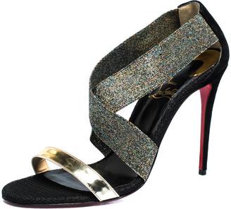 Christian Louboutin Multicolor Patent, Elastic And Suede Elastagram Sandals Size 39