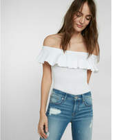 Express off the shoulder ruffle thong bodysuit