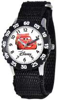 Cars Boys' Disney Stainless Steel Time Teacher with Bezel Watch - Black