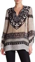 Hale Bob Long Sleeve Embellished Print Tunic