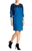 Bobeau Lace Overlay Sweater Shift Dress