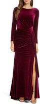 Vince Camuto Long Sleeve Velvet Gown