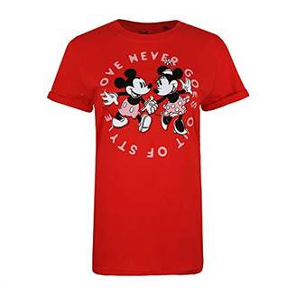 Disney Women's Love Never Goes Out of Style T-Shirt, Red, (Size:Medium)