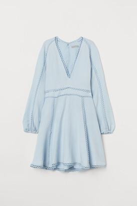 H&M Linen-blend Dress - Blue