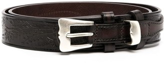 Andersons Floral Embroidered Leather Belt