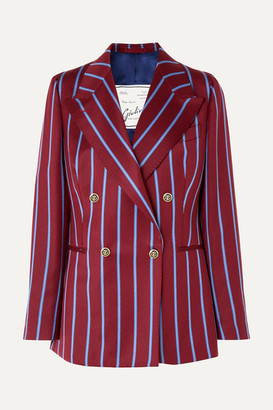 Giuliva Heritage Collection Stella Double-breasted Striped Wool Blazer - Merlot