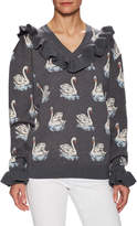 Stella McCartney Printed V-Neck Wool Sweater