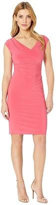 Lauren Ralph Lauren 4R Matte Jersey Brandie Cap Sleeve Day Dress (Starfruit) Women's Clothing