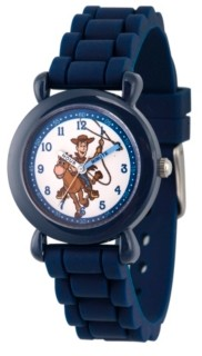 EWatchFactory Boy's Disney Toy Story 4 Woody Blue Plastic Time Teacher Strap Watch 32mm