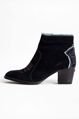 Zadig & Voltaire Molly Suede Denim Ankle Boots