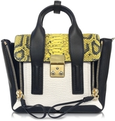 3.1 Phillip Lim Pashli Lemon Python Print and Colorblock Leather Mini Satchel Bag