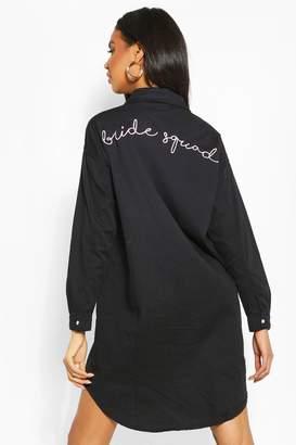 boohoo Bride Squad Embroidered Denim Shirt Dress