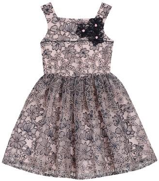 Badgley Mischka Floral Embellished Mesh Dress (Big Girls)