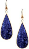Rivka Friedman 18K Gold Clad Elongated Teardrop Lapis Slice Earrings