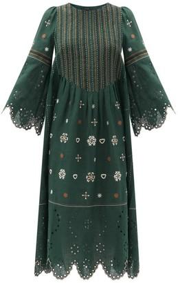 Vita Kin Jacqueline Broderie-anglaise Linen Midi Dress - Dark Green