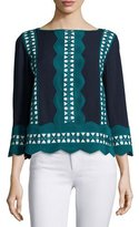 Tory Burch Germaine 3/4-Sleeve Embellished Silk Tunic Top, Navy/Ivory