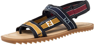 Fendi Multicolor Canvas Forever Strap Flat Sandals Size 44