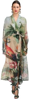 Dolce & Gabbana TROPICAL SHEER SILK ORGANZA TRENCH COAT