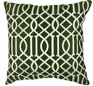 "Entryways Olive Green Embroidered Vail Trellis Throw Pillow - 20""x20"""