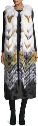 Fabulous Furs Full-Length Chevron Faux-Fur Vest