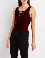 Charlotte Russe Velvet Lace-Up Bodysuit