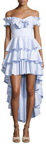 Caroline Constas Artemis Off-The-Shoulder Tiered Poplin Dress