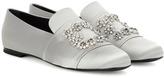 Roger Vivier Crystal-embellished Satin Loafers