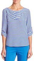 Akris Punto Silk Striped Blouse