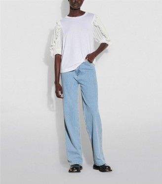 Sandro Paris Pleated-Sleeve T-Shirt