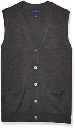 Buttoned Down Italian Merino Wool Lightweight Cashwool Button-front Vest Sweater,L