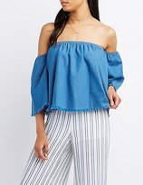 Charlotte Russe Chambray Frayed Off-The-Shoulder Top