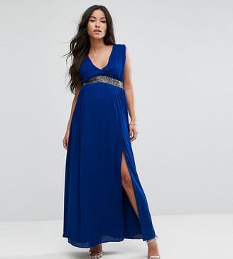 Asos Embellished Waist Strap Back Maxi Dress-Blue